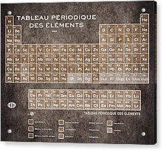 Tableau Periodiques Periodic Table Of The Elements Vintage Chart Sepia Acrylic Print by Tony Rubino