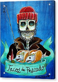 Tacos De Pescado Acrylic Print by Heather Calderon