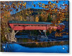 Taftsville Covered Bridge In Autumn Colors Acrylic Print by Jeff Folger