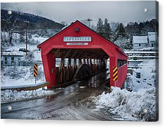 Taftsville Covered Bridge In Winter Acrylic Print by Jeff Folger