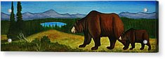 Taggart Lake Bears Acrylic Print by Lucy Deane