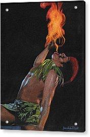 Tahitian Fire God Acrylic Print by Diane Bombshelter