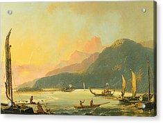 Tahitian War Galleys In Matavai Bay - Tahiti Acrylic Print by William Hodges