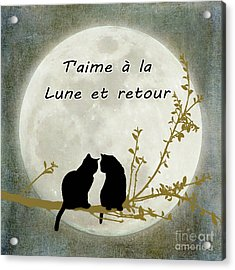Acrylic Print featuring the digital art T'aime A La Lune Et Retour by Linda Lees