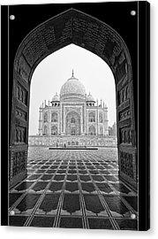 Taj Mahal - Bw Acrylic Print by Stefan Nielsen