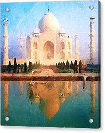 Taj Mahal Reflection Acrylic Print by Dan Sproul