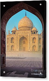 Taj Mahal Though An Arch Acrylic Print by Inge Johnsson