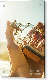 Take And Hold Sailor With Glass Ship Acrylic Print by Jorgo Photography - Wall Art Gallery