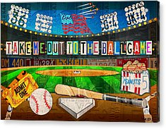 Take Me Out To The Ballgame Recycled Vintage License Plate Art Collage Acrylic Print by Design Turnpike