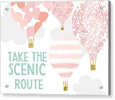 Take The Scenic Route Pink- Art By Linda Woods Acrylic Print