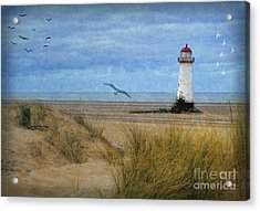 Acrylic Print featuring the digital art Talacre Lighthouse - Wales by Lianne Schneider