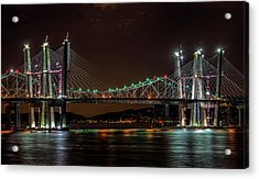 Tale Of 2 Bridges At Night Acrylic Print