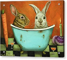 Acrylic Print featuring the painting Tale Of Two Bunnies by Leah Saulnier The Painting Maniac
