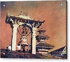 Acrylic Print featuring the painting Taleju Bell- Patan, Nepal by Ryan Fox