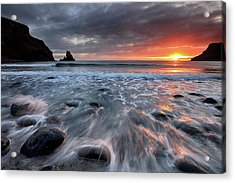 Acrylic Print featuring the photograph Talisker Bay Rocky Sunset by Grant Glendinning