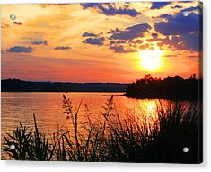 Tall Grass Sunset Smith Mountain Lake Acrylic Print