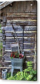 Tall Log Cabin And Garden Tools Acrylic Print by Linda Phelps