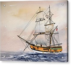 Tall Masted Ship Acrylic Print by Lynne Parker