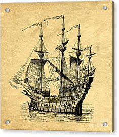 Acrylic Print featuring the drawing Tall Ship Vintage by Edward Fielding