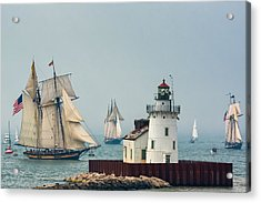 Tall Ships At Cleveland Lighthouse Acrylic Print