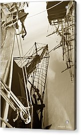 Tall Ships Reflected Acrylic Print by Robert Lacy