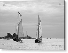Tall Ships Sailing I In Black And White Acrylic Print by Suzanne Gaff