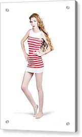 Tall Slim Retro Fashion Woman On White Background Acrylic Print by Jorgo Photography - Wall Art Gallery
