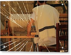 Jewish Prayer Shawl Weaving In Tzfat Acrylic Print by Yoel Koskas