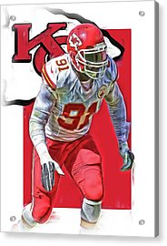 Tamba Hali Kansas City Chiefs Oil Art Acrylic Print