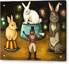Taming Of The Giant Bunnies Acrylic Print by Leah Saulnier The Painting Maniac