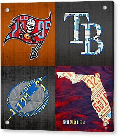 Tampa Bay Sports Fan Recycled Vintage Florida License Plate Art Bucs Rays Lightning Plus State Map Acrylic Print