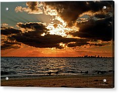 Tampa Bay Sunset Acrylic Print by Christopher Holmes