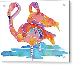 Acrylic Print featuring the painting Tampa Nic Flamingos by Jo Lynch