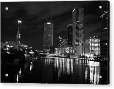 Tampa Skyline West Night Black And White Acrylic Print by Larry Underwood