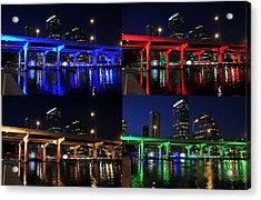 Acrylic Print featuring the photograph Tampa's Colorful Bridges by David Lee Thompson