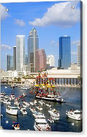 Tampa's Flag Ship Acrylic Print by David Lee Thompson