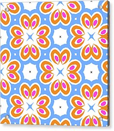 Tangerine And Sky Floral Pattern- Art By Linda Woods Acrylic Print by Linda Woods