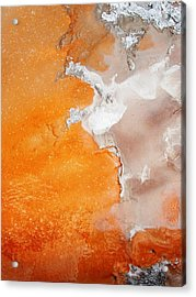 Tangerine Orange Geyser Pool Of Yellowstone Acrylic Print by The Forests Edge Photography - Diane Sandoval