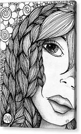 Tangle Lady Acrylic Print by Delein Padilla