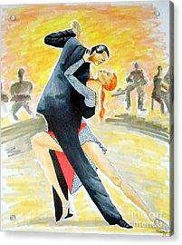 Tango Tangle -- Portrait Of 2 Tango Dancers Acrylic Print