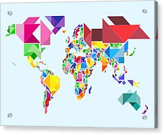 Tangram Abstract World Map Acrylic Print by Michael Tompsett