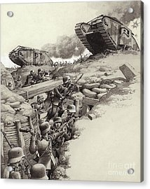 Tanks Roll Over German Trenches During The Great War  Acrylic Print by Pat Nicolle