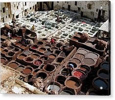 Acrylic Print featuring the photograph Tanneries At Fez Morocco by Erik Falkensteen