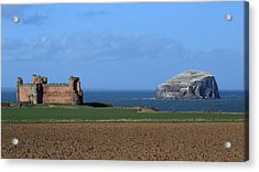 Tantallon Castle And The Bass Rock Acrylic Print by Maria Gaellman