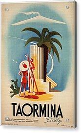 Taormina, Sicily, Italy - Couples - Retro Travel Poster - Vintage Poster Acrylic Print