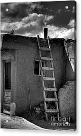 Taos Adobe And Ladder Acrylic Print by David Waldrop