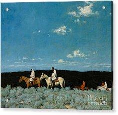 Taos Indians Homeward Bound Acrylic Print by E  Martin Hennings