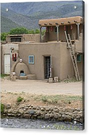 Taos Pueblo Adobe House With Pots Acrylic Print