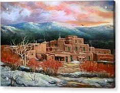 Taos Pueblo Acrylic Print by Brooke lyman