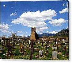 Taos Pueblo Cemetery Acrylic Print by Kurt Van Wagner